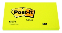 BLOC POST-IT - 100 FEUILLES - NÉON JAUNE - 76 x 127 mm