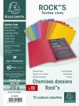 LOT DE 10 CHEMISES DOSSIERS ROCK'S EXACOMPTA ASSORTIS