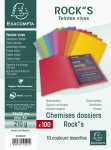 LOT DE 100 CHEMISES DOSSIERS ROCK'S EXACOMPTA ASSORTIS